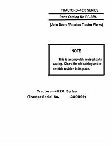John Deere 4020 Prior To 200999 Tractor Parts Catalog Book Reproduction