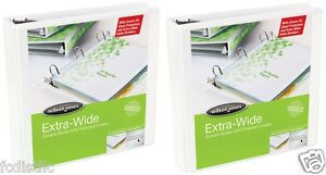 2 Wilson Jones Extended Cover Vinyl View Binders D ring 3 Inch White