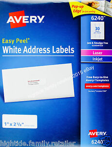 Avery White Address Labels 6240 Laser Inkjet 1 X 2 5 8