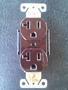 50 Pc Standard Duplex Receptacles 20 Amp Brown Self Grounding 20a Outlets