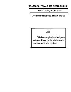 John Deere 720 And 730 Diesel Tractor Parts Catalog Book Reproduction