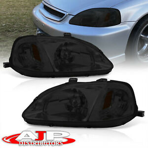 Smoke Lens Front Headlights Head Lamps For 1999 2000 Honda Civic Lx Ex Si Ek