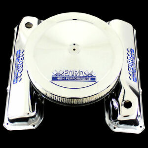 Chrome Valve Covers Air Cleaner Fits 351 Cleveland Engines Ford Hp Emblems