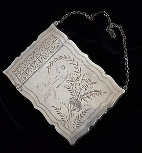 Aesthetic Victorian Engraved Sterling Silver Card Case On Chain