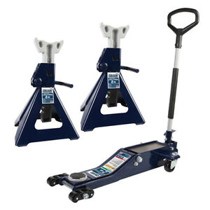 free Shipping Ultra Low Profile 2 ton Service Jack With Two 4 ton Jack Stands