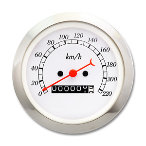85 Mm Vintage Auto Mechanical Speedometer Classic White Gauge Red Pointer Kmh