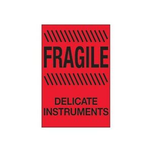 Tape Logic Labels Fragile Delicate Instruments 4x6 Fluorescent Red 500 Per Roll