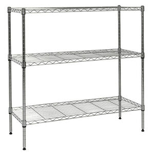 Apollo Hardware Chrome 3 shelf Nsf Wire Shelving Rack With Wheels 14 x36 x36