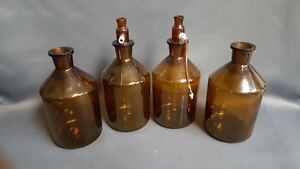1000ml Amber Brown Glass Solution Bottle W Glass Tops Lot Of 4