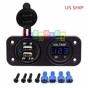 P2 Blue Waterproof Voltmeter 12v 24v Dual Usb 3 1a Charger Motorcycle Boat Car