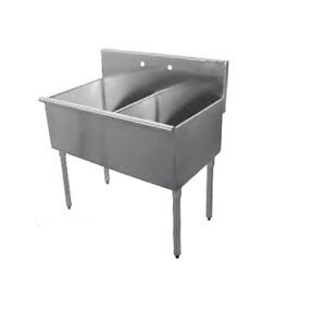 New Commercial Stainless Steel 36 X 24 5 2 Two Compartment Budget Sink 18 Ga