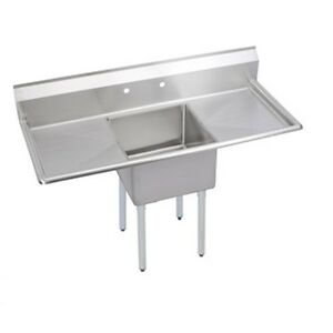 New Stainless Steel 60 X 26 1 Single One Compartment Sink W 2 Drainboards Nsf