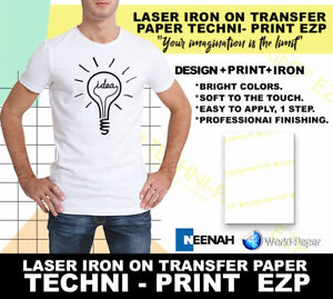 Laser Iron on Heat Transfer Paper Whites lights 8 5 X 11 Techni Print 100pk