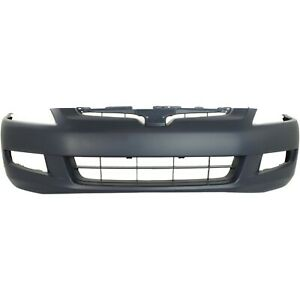 Front Bumper Cover For 2003 2005 Honda Accord Coupe W Fog Lamp Holes Primed