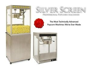 Commercial Popcorn Machine Maker Stand Silver Screen 14 Oz Popper 11147 30147