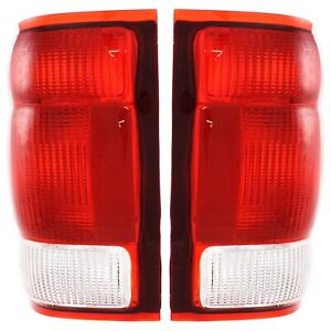 Set Of 2 Tail Light For 2000 Ford Ranger Xl Lh Rh Clear Red Lens