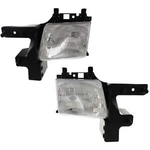 Headlight Set For 99 2003 Dodge Ram 1500 Van Ram 3500 Van Lh Rh W Bulb