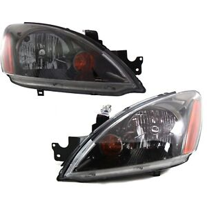 Headlight Set For 2004 2007 Mitsubishi Lancer Left And Right Black Housing 2pc