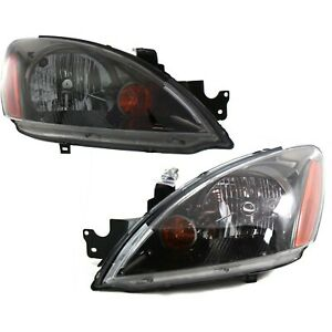 Headlight Set For 2004 2007 Mitsubishi Lancer Left and Right Black Housing 2Pc $149.94