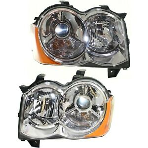 Headlight Set For 2008 2009 2010 Jeep Grand Cherokee Left And Right Hid 2pc