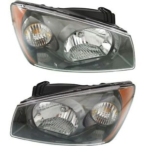 Headlight Set For 2004 2006 Kia Spectra Driver And Passenger Side W Bulb