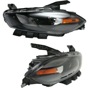 Headlight Set For 2013 2016 Dodge Dart Left And Right Black Housing Hid 2pc