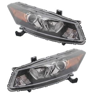 Headlight Set For 2008 2012 Honda Accord Coupe With Amber Turn Signal Light 2pc