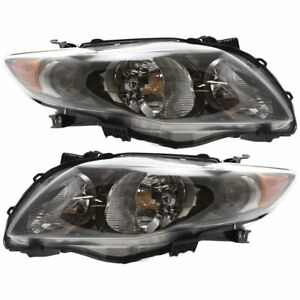 Headlight Set For 2009 2010 Toyota Corolla Left Right Black Interior 2pc