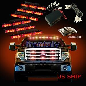 54 Led Car Truck Strobe Emergency Warning Light For Deck Dash Grill Red