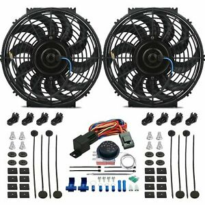 Double 12 Inch Electric Radiator Fan s Adjustable Temp Thermostat Control Kit
