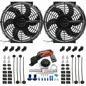 Dual 10 Inch Electric Radiator Cooling Fans 12 Volt Adjustable Temp Switch Kit