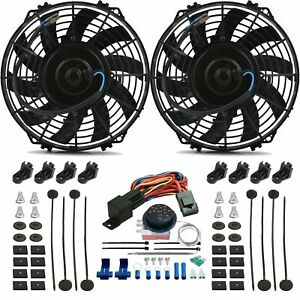 Dual 9 Inch Electric Cooling Fan s Adjustable Temperature Thermo Controller Kit