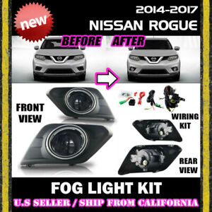 For Nissan Rogue 14 15 16 Fog Light Driving Lamp Kit W Switch Wiring Clear