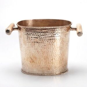Silver Plate And Faux Antler Handle Wine Bucket Wine Cooler For M Fredrick