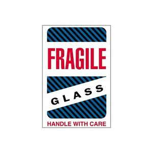 tape Logic Labels fragile Glass Handle With Care 4 x6 500 roll
