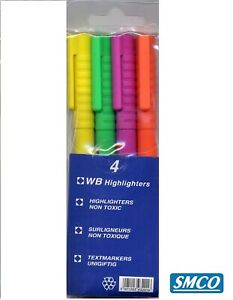 4 Highlighters Pen Marker Slim Fine Narrow 3mm Nib Chisel Tip Assorted Colours