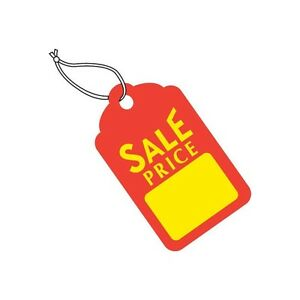 merchandise Tags Pre strung 1 11 16 X 2 3 4 Red yellow 1000 case