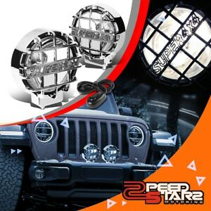 6 round Clear Lens Chrome Cover Bumper Bull Bar Grill Fog Light Lamps switch 4x4