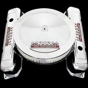 Chrome Valve Covers And Air Cleaner Fits Mopar 383 Dodge Engines Hp Emblems