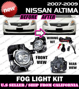 For 07 08 09 Nissan Altima Fog Lights Driving Lamp Kit W Switch Wiring Clear