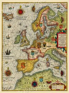 Sea Chart Of Europe 1583 Vintage Style Navigational Map 18x24