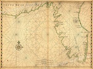 1630s Costa De Le Florida Vintage Style Early America Map 20x28