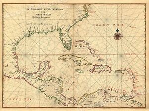 1639 Islands And Mainland Of The West Indies Vintage Style America Map 20x28