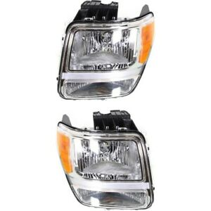Headlight Set For 2007 2011 Dodge Nitro Driver And Passenger Side W Bulb
