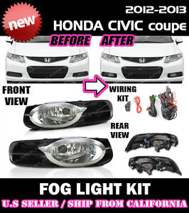 12 13 Honda Civic 2d Coupe Fog Light Driving Lamp Kit W Switch Wiring Clear
