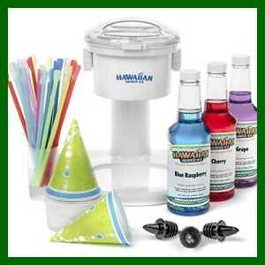 Party Pack Shaved Ice Hawaiian Slush Puppie Snow Sno Cone Machine Syrup Cups New