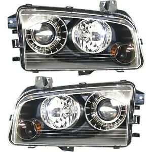 Headlight Set For 2008 2009 2010 Dodge Charger Left And Right Hid 2pc