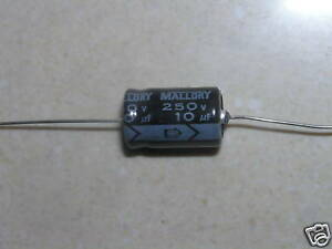 Mallory Electrolytic Capacitor Axial Leaded 250 Volt 250v 10uf X200 Tka100m250st