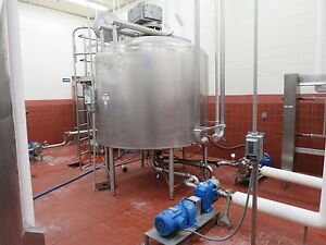 Crepaco 1400 Gallon Stainless Steel Jacketed Mixing Tank W Sweep Agitator