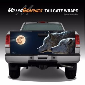 Wolves Moon Night Scene Wolf Truck Tailgate Vinyl Graphic Decal Wrap